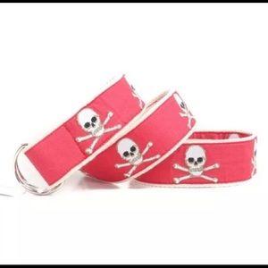 Cj Laing of Southampton NY, pink preppy skull belt